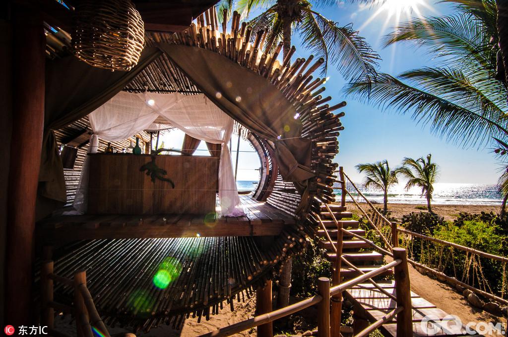 墨西哥的Playa Viva度假屋,这里能让你在环保的同时尽情享受奢华! Playa Viva度假屋坐落在锡瓦塔内霍30分钟车程的Juluchuca,是一座由竹子建成的环保树屋,占地700平方英尺(约65平方米),周围棕榈树林环绕金色十分宜人。