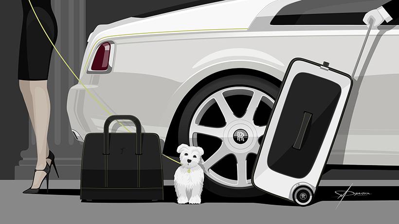 该旅行系列包括两个旅行箱、三个手提行李包以及一个西装套袋,由劳斯莱斯汽车Bespoke客户定制设计师迈克尔·布莱登(Michael Bryden)构想,并由劳斯莱斯汽车设计总监贾尔斯·泰勒(Giles Taylor)所领导的Bespoke客户定制团队精心设计完成。