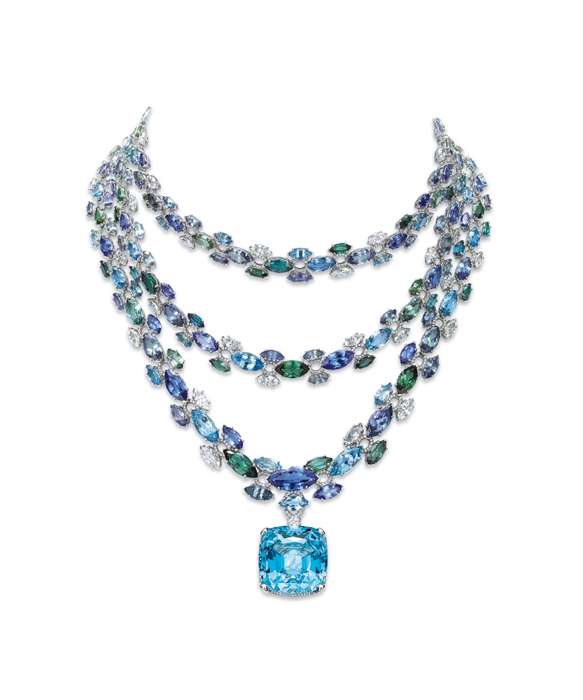 铂金镶嵌海蓝宝石,坦桑石,绿碧玺及钻石三股式项链