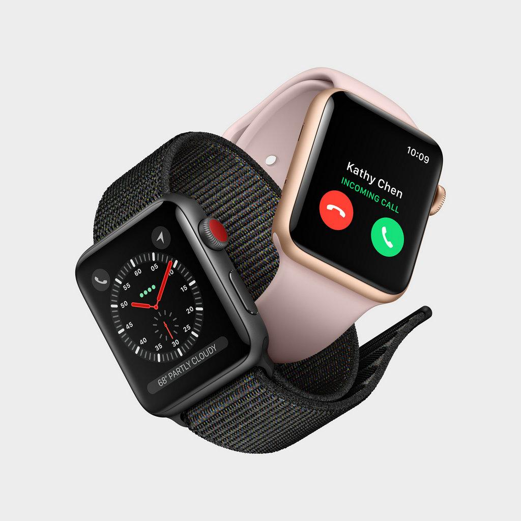 Apple Watch Series 3 (GPS + 蜂窝网络) 具备完整的 LTE 和 UMTS 蜂窝无线功能,并和iPhone共享同个手机号,即使 iPhone 不在手边,也能顺畅切换至蜂窝网络。