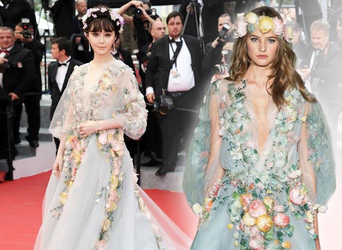 戛纳明星红毯VS秀场超模华服 哪个更美?