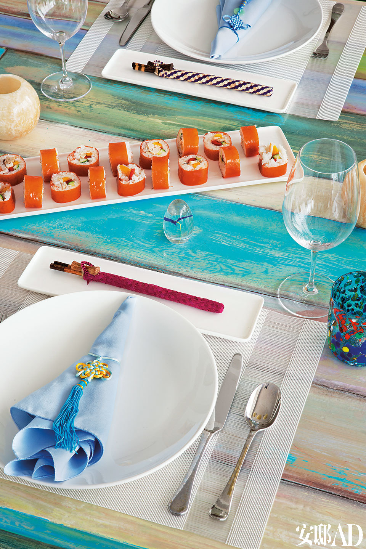 Tracy制作的寿司,原料精选健康蔬菜和水果。(www.newgemfoods.com)
