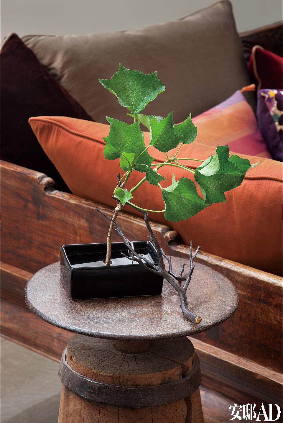 画室里,来自中国的长沙发和由铁钻改装而来的小独脚圆凳搭配得宜。