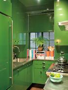 雷德将橱柜换成了苹果绿色。虽然这个小厨房间就像是餐 具间一样,但是以防万一还是具有齐全的厨房功能。原先的房东是一对德国夫妻, 对厨房里的每样事物都考虑得井井有条。因此, 设计师只是将橱柜涂成苹果绿色, 把几个线条改成直线。