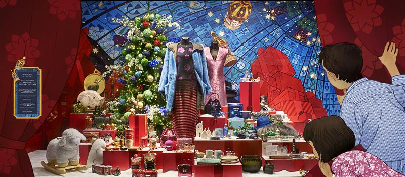 法国春天百货printemps圣诞橱窗揭幕