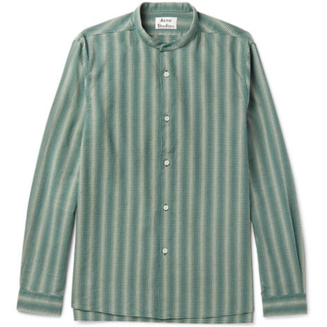 儒雅的灰绿条纹衬衫