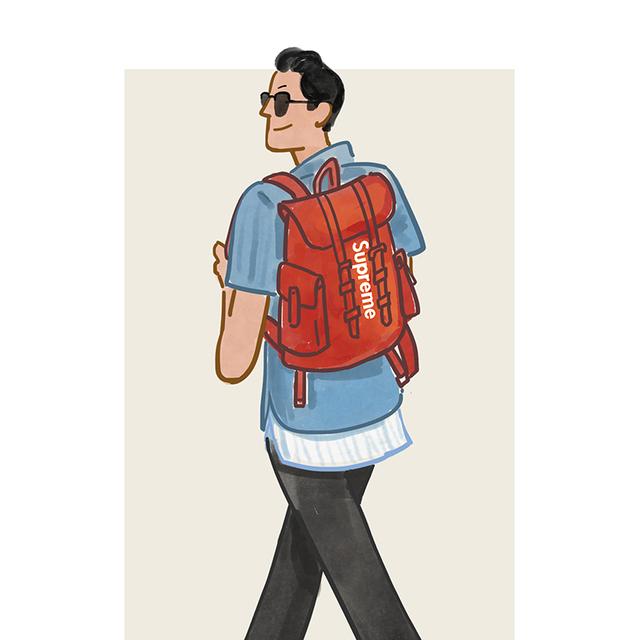 每日穿搭 红色背包自带减龄buff
