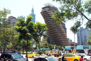 """台北吸碳垂直森林住宅吸引眼球 """"扭曲大楼""""以恢复地球森林为初衷"""