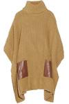 人造皮革边饰罗纹针织斗篷