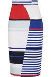 Marina 条纹弹力棉质铅笔半身裙