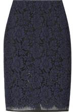 蕾丝和欧亘纱铅笔半身裙