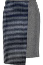 不对称羊毛混纺围裹效果半身裙