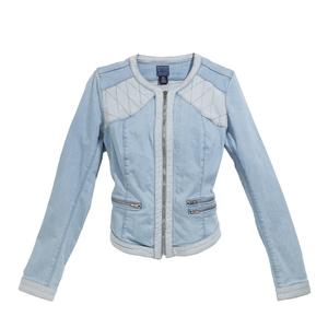 GUESS盖尔斯浅蓝色拼接设计牛仔短外套