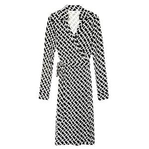 Diane von Furstenberg黑×白链扣裹身裙