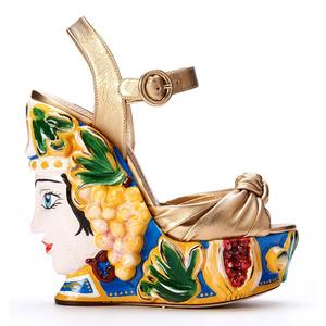 Dolce&Gabbana杜嘉班纳2014春夏系列金色厚底坡跟凉