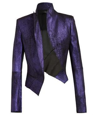 Distressed Metallic Leather Jacket