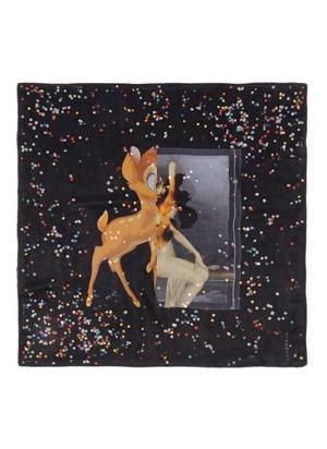 Bambi and confetti print silk-chiffon scarf