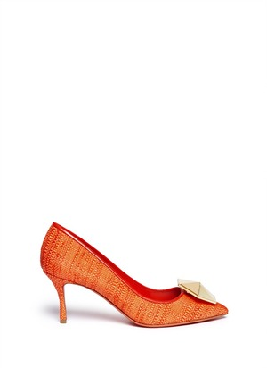 Hexagon plexiglas jewel raffia pumps