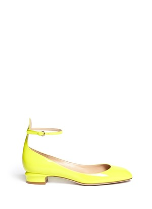 Patent leather ankle strap pumps