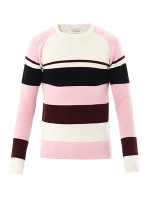 Striped raglan-knit cashmere sweater