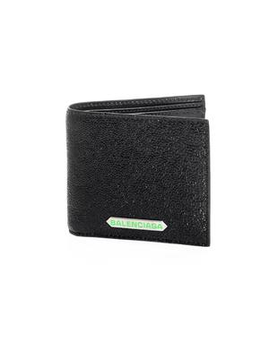 Galuchat-effect square wallet