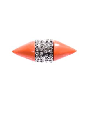 Coral & crystal magnetic single earring