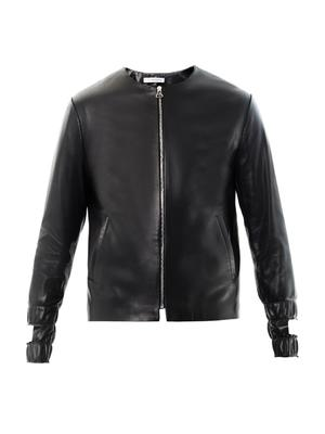 Cut out-cuff leather jacket
