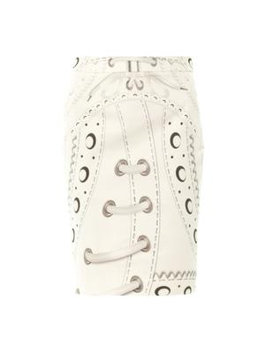 Glacine brogue-print pencil skirt