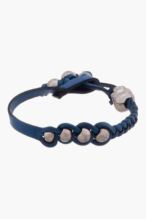 Alexander Mcqueen Blue And Silver Braided Leather Bracelet