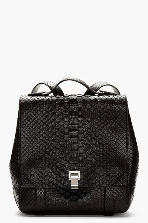 Proenza Schouler Black Etched Leather Python_pattern Backpack