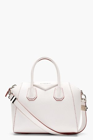 Givenchy White Grained Goatskin Antigona Small Duffle Bag