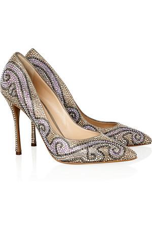 水晶缀饰绒面革高跟鞋