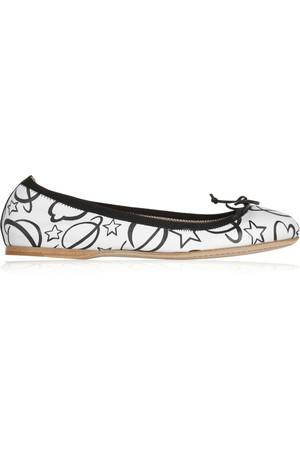 印花皮革芭蕾平底鞋