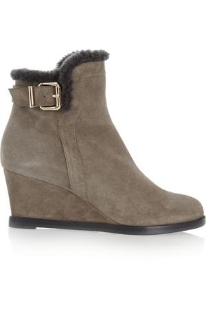 羊毛皮衬里绒面革坡跟靴