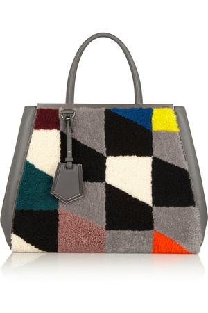 2Jours 皮革和印花羊毛皮手提包