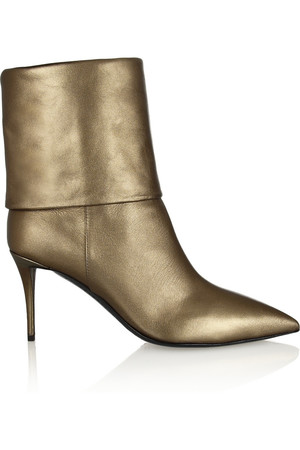 Yvette 金属色皮革及踝靴