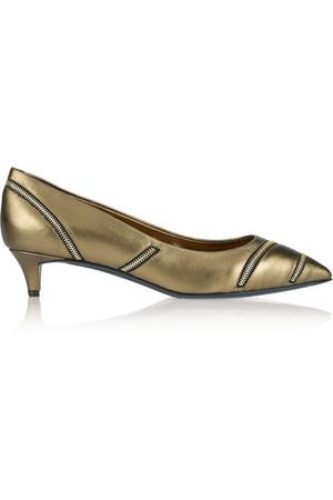 Yvette 拉链缀饰金属感皮革低跟鞋