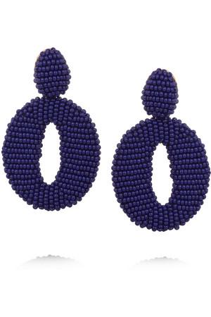 Oscar O gold-tone beaded clip earrings