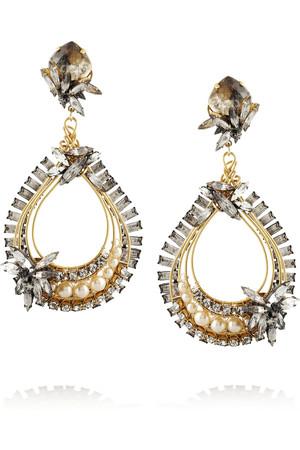 Stratosphere 施华洛世奇水晶和人造珍珠镀金耳坠