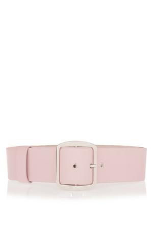 浅粉色皮革宽腰带