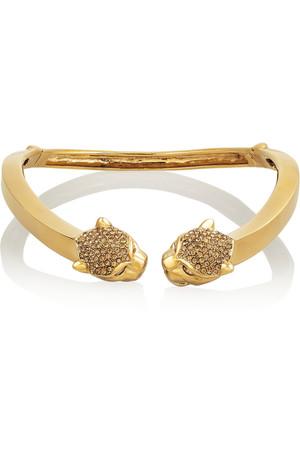 施华洛世奇水晶镀金黑豹项圈式项链