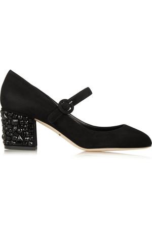 Vally 水晶缀饰天鹅绒中跟鞋