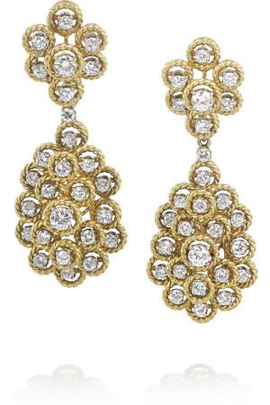 Estate 1970 年代 18K 黄金钻石耳坠