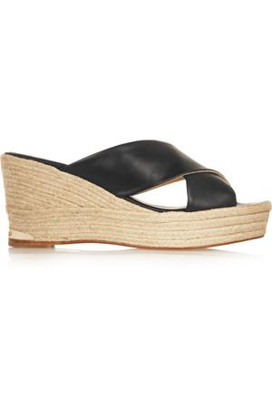 皮革坡跟麻底鞋