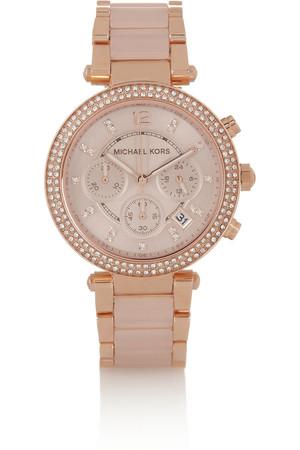 Parker 施华洛世奇水晶缀饰玫瑰金色手表