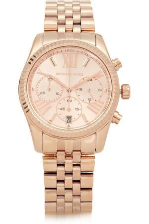 Lexington 玫瑰金色不锈钢计时腕表