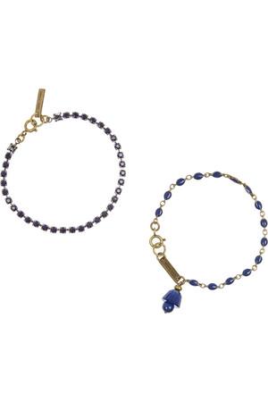 水晶搪瓷金色手链(两件套)