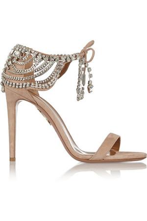 + Olivia Palermo 缀饰绒面革凉鞋