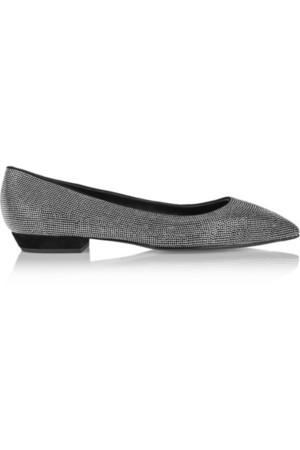 Yvette 钉饰绒面革尖头平底鞋