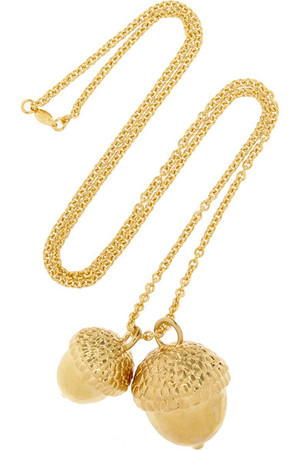 橡树果镀金项链